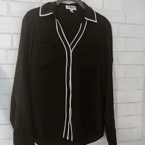Long sleeved black button down